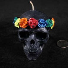 Roses Skull Candle -  Black with Rainbow Roses