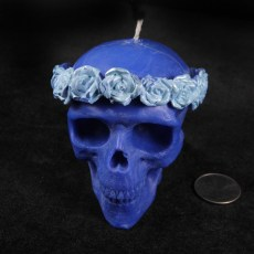 Roses Skull Candle -  Blue with Silver Roses