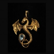 Brass Dragon with Blue Topaz Pendant