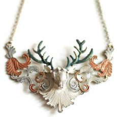 Antler Stag Head Brass Necklace
