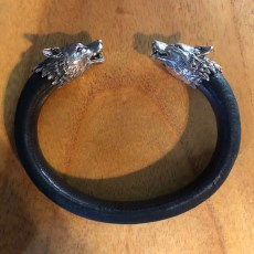 Silver Wolf Arm Cuff Stingray Leather and Silver