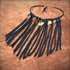 Freebird Black Leather and Citrine Collar