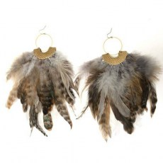Big Brass Natural Feathers Earrings