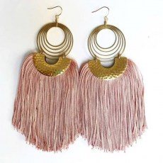 Tapestry Fringe Earrings - Pink