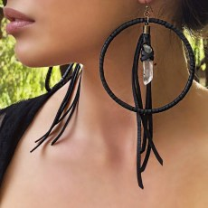 Freebird Black Leather and Quartz Earrings