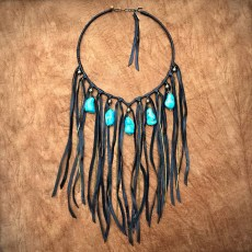 Freebird Black Leather and Turquoise Color Howlite Collar