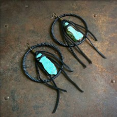 Freebird Rust Leather and Turq. Colored Howlite Earrings
