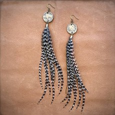 Freebird Buffalo Nickel and Feather Earrings