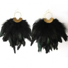 Big Brass Black Feather Earrings