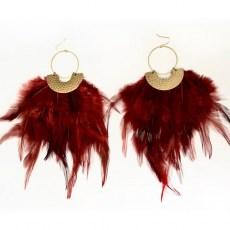 Big Brass Burgundy Feather Earrings