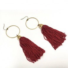 Tapestry Fringe Earrings - Burgundy