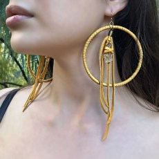 Freebird Gold Leather and Citrine Earrings