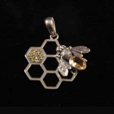 Citrine Beehive Polished Pendant