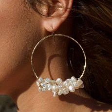 Pearl, Freshwater Keshi, Hoop Earrings