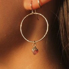 Dark Pink Tourmaline Mini Hoops