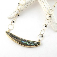 Abalone Necklace with Black Garnet