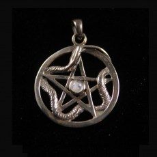 Snake Pentagram with Moonstone Silver Pendant