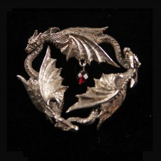 Triple Dragon Silver Pendant with FacetedGarnet