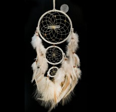 Native Made Medium Dreamcatcher Triple Hoop White with Stones & Feathers