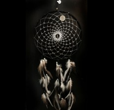 Native Made Medium Dreamcatcher Black with Stones & Feathers