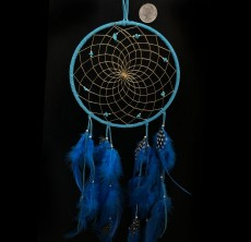 Native Made Medium Dreamcatcher Blue with stones & Feathers