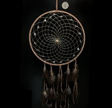 Native Made Medium Dreamcatcher Tan with Stones & Feathers