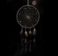 Native Made Medium Dreamcatcher Brown with Turquoise & Feathers