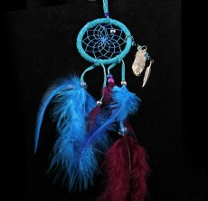 Native American made Dreamcatcher in blue with Pheasant feathers and Quartz crystal and feather charm.