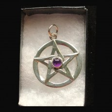 Pentagram Silver with Amethyst