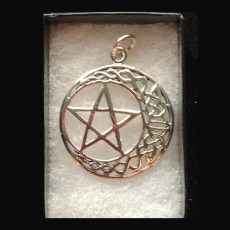 Pentagram Silver with Celtic Crescent Moon
