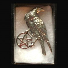 Pentagram Silver with Raven